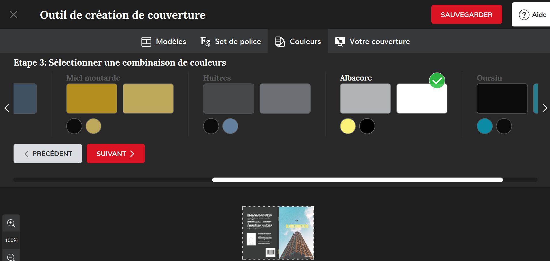 création de couverture livre étape 3 sélectionner combinaison de couleurs